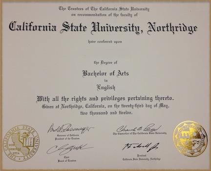 Bachelor of Arts Degree Diploma