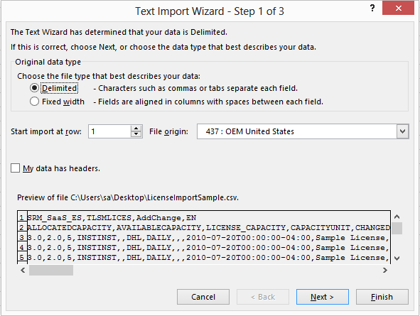 Excel text import wizard, step one.
