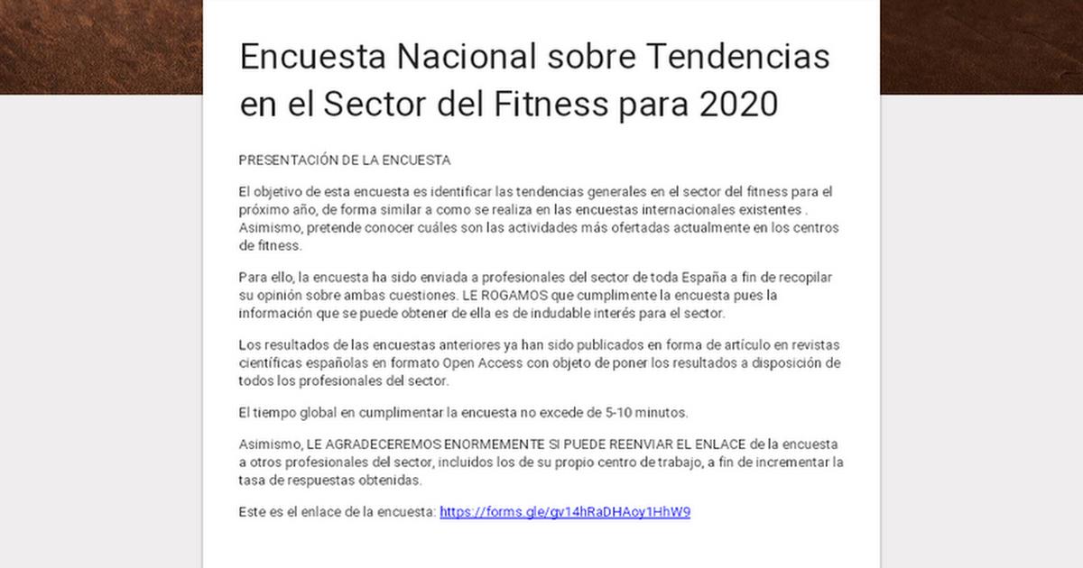 Encuesta Nacional sobre Tendencias en el Sector del Fitness para 2020