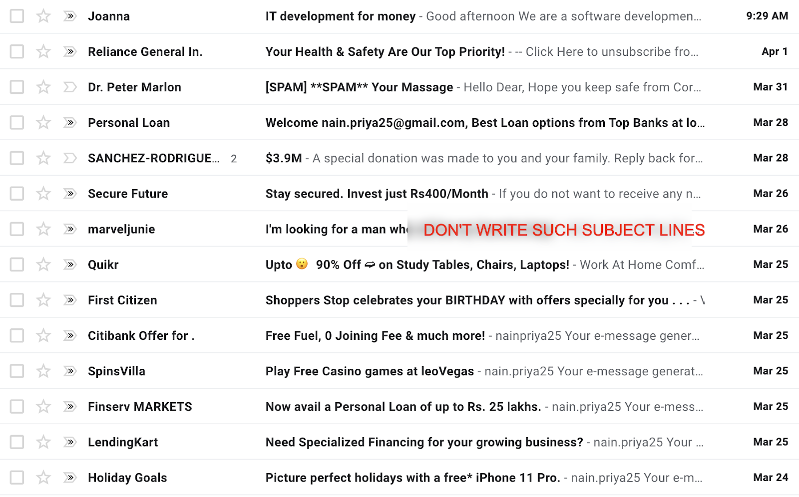 Subject lines to avoid