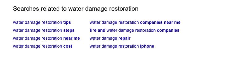 Water Damage SEO Keywords