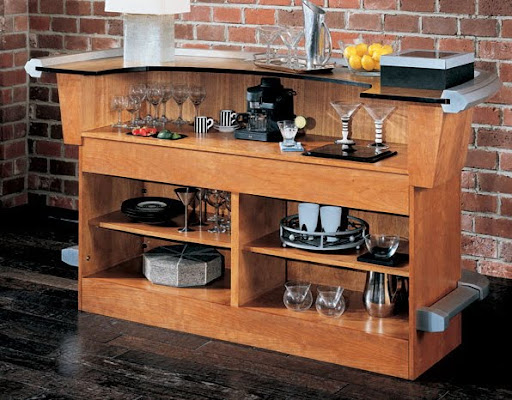 Grande Contemporary Home Bar Pub Cherry Wood 600027CHS