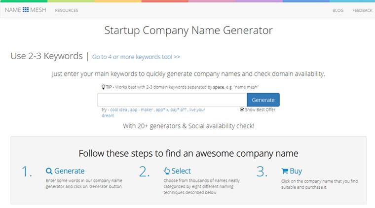 startup company name generator do name mesh