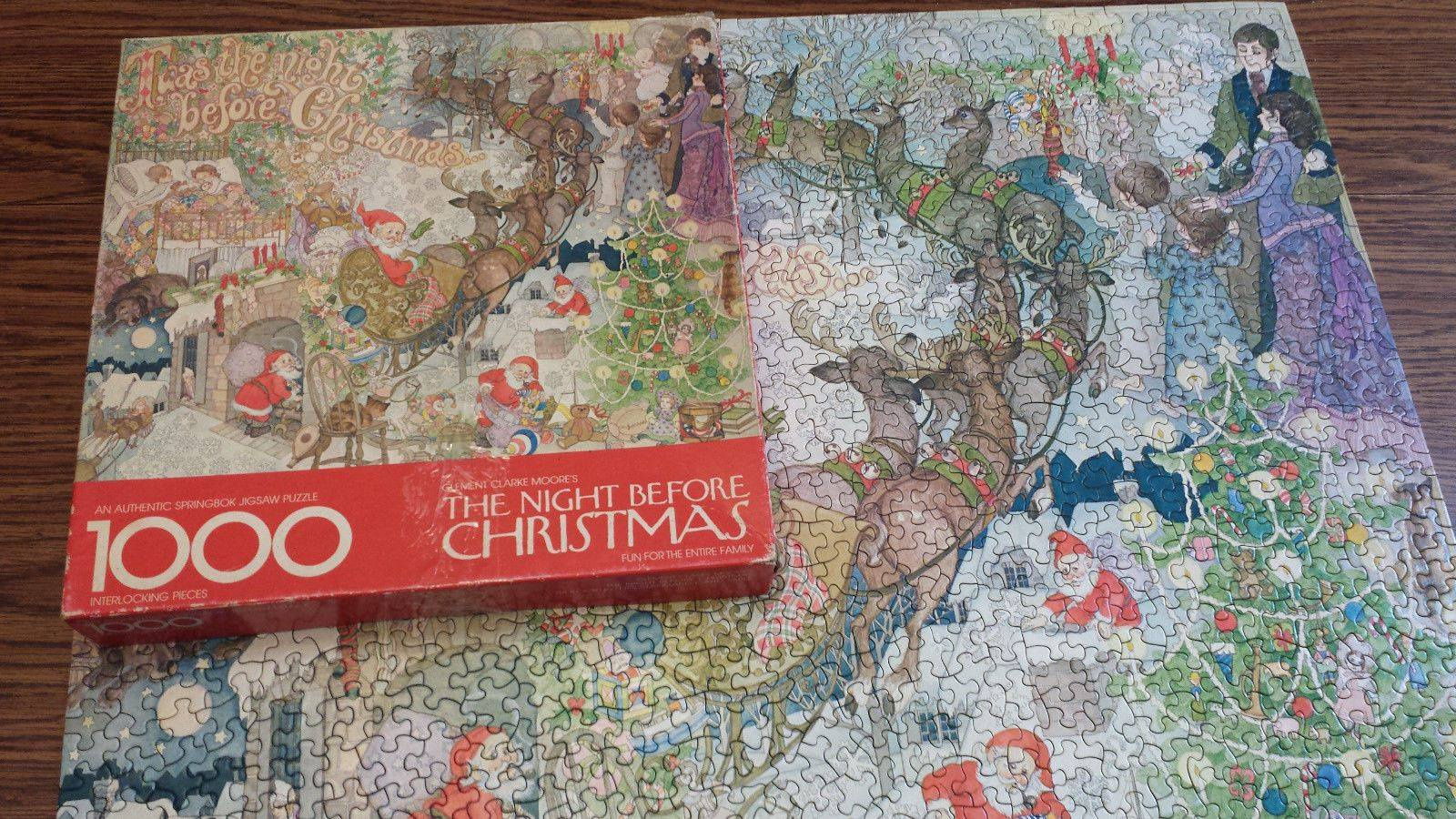 A completed Night Before Christmas puzzle.