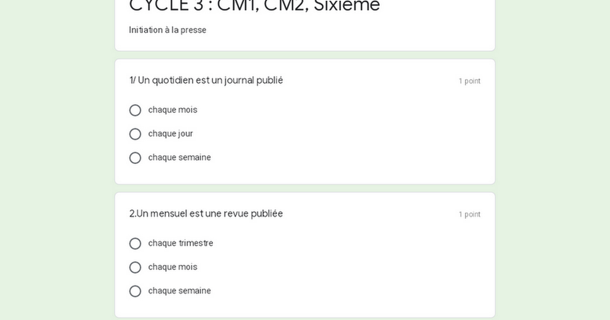 CYCLE 3 : CM1, CM2, Sixième
