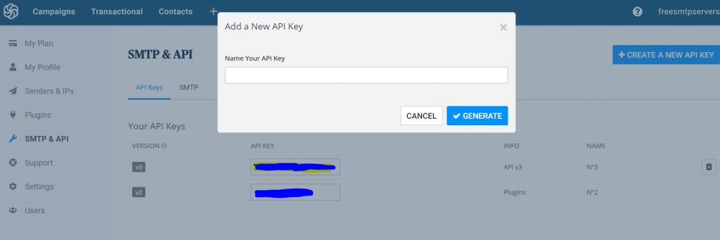 Khóa API sendinblue SMP