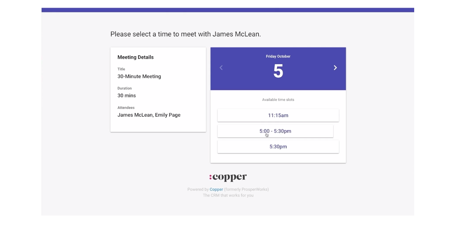 Copper crm's meeting scheduling feature