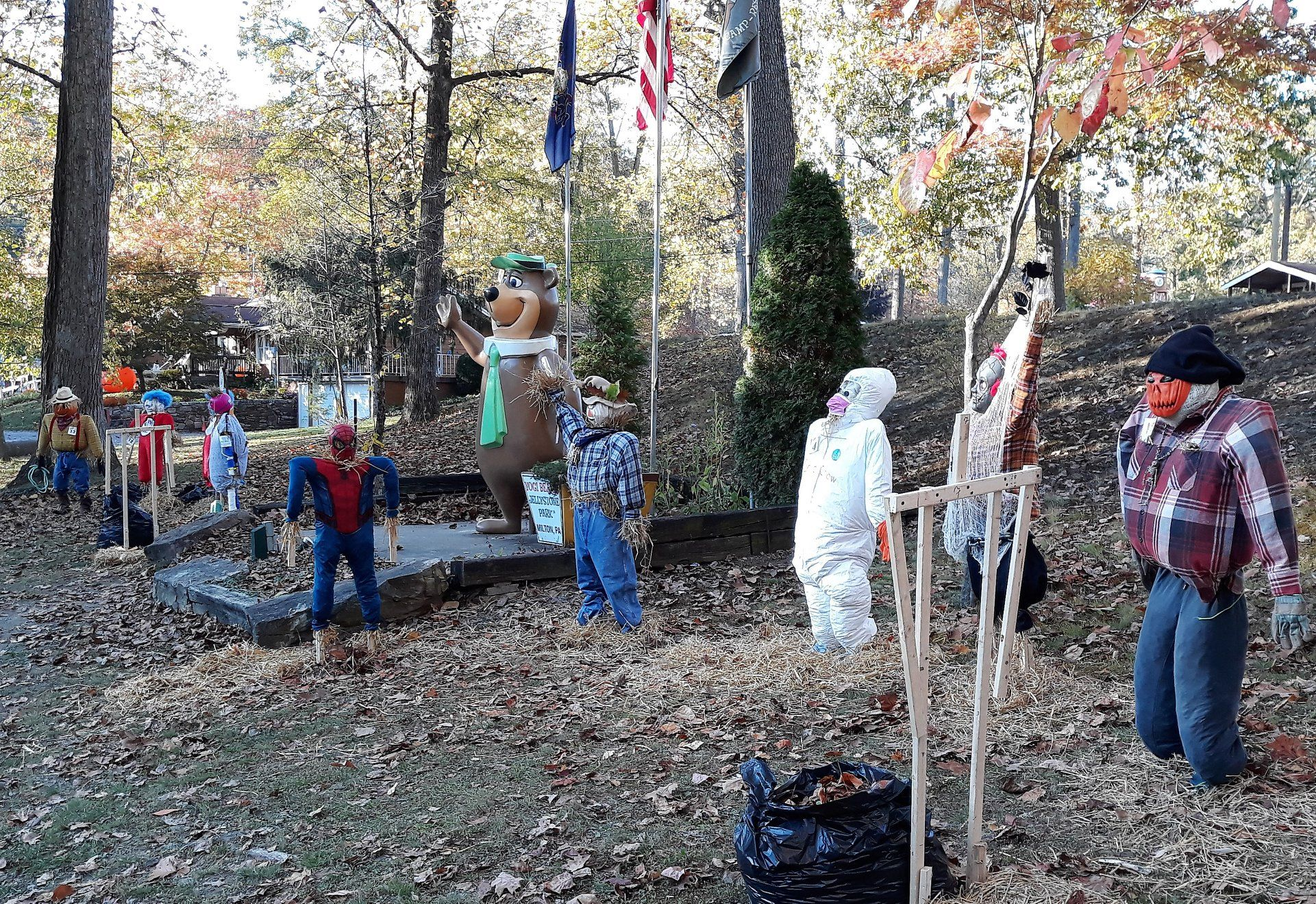 Scarecrows and halloween decor at campground