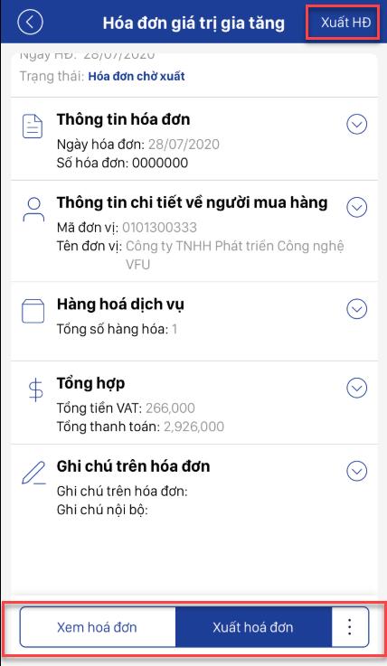 Hoàn tất quá trình xuất hóa đơn điện tử trên App Mobile E-invoice.