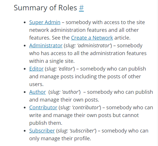 WordPress site roles and capabilities