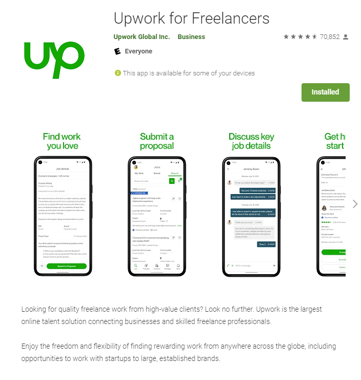 Upwork Mobile App for Android