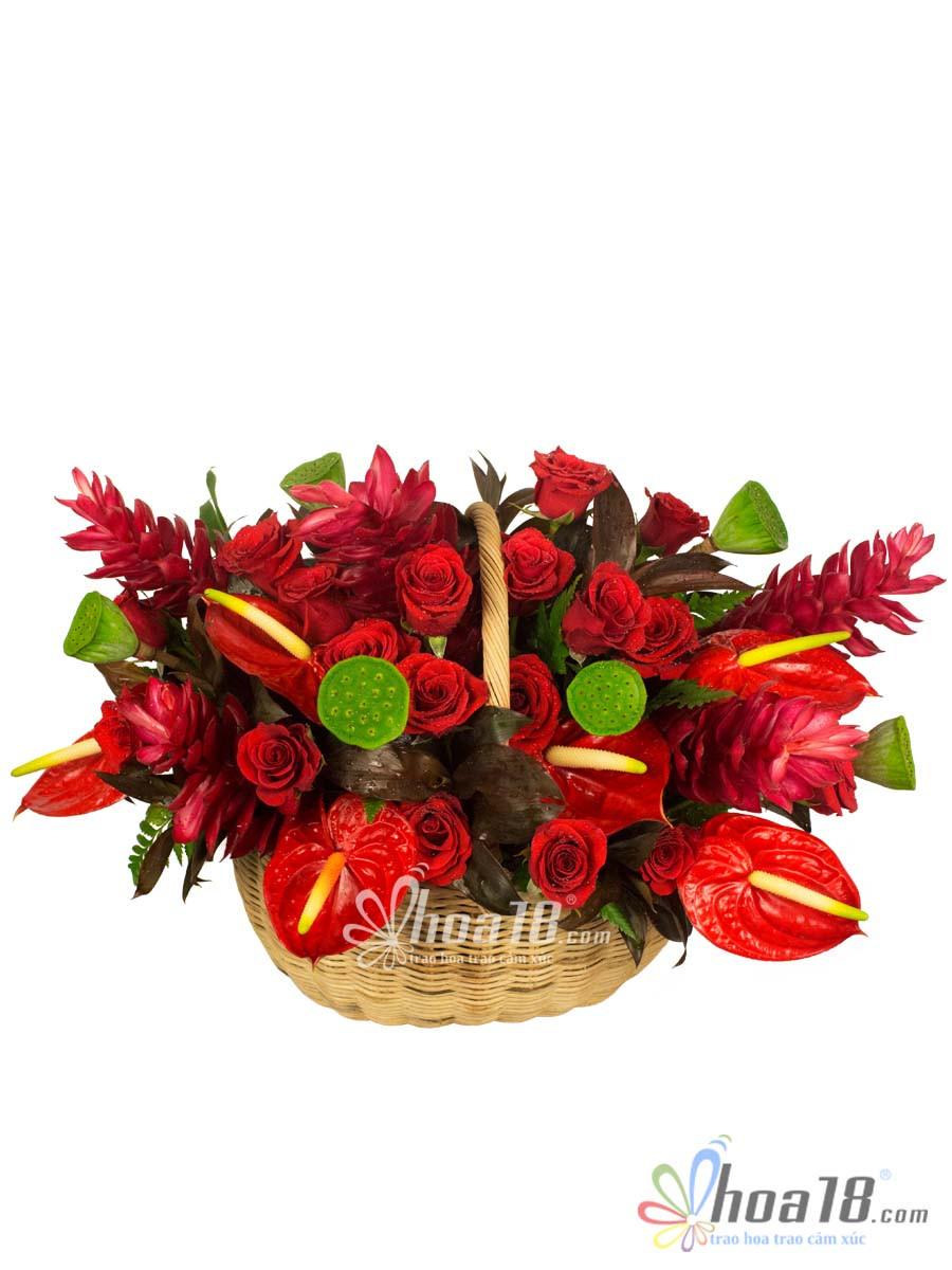 giỏ hoa giánh sinh đẹp