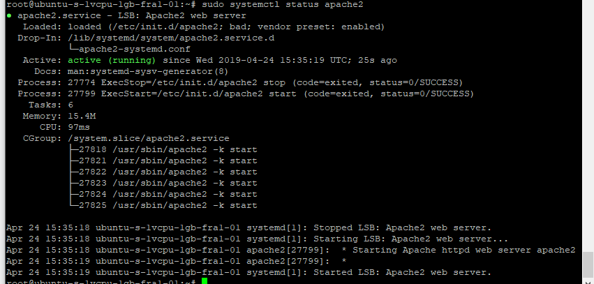 Install Apache in the digital ocean or ubuntu