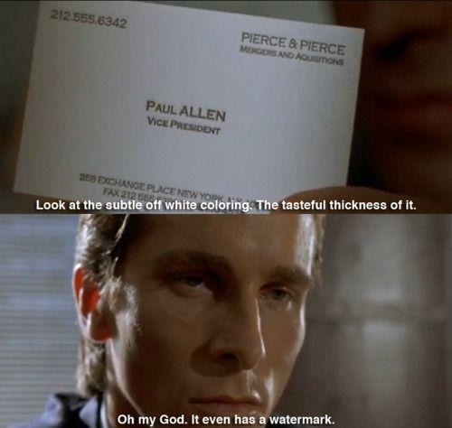 Amercian Psycho business card