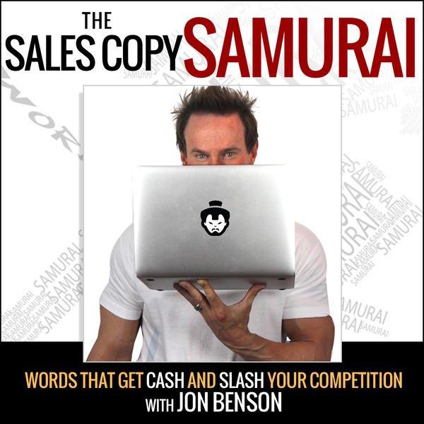 "An image detailing ""The Sales Copy Samurai: Jon Benson"" as a headline."