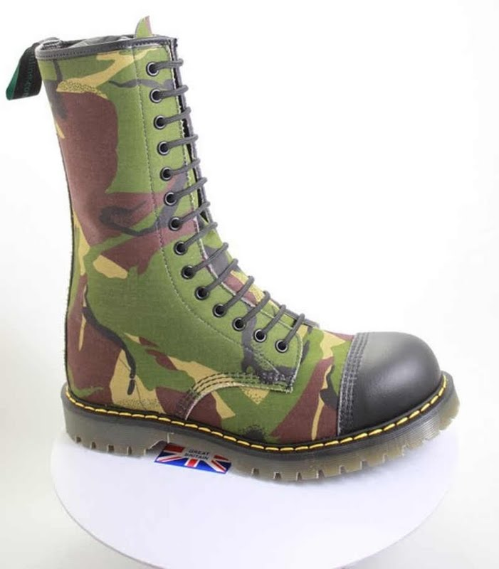 14 eyelet tall vegan camouflage boot made in the UK