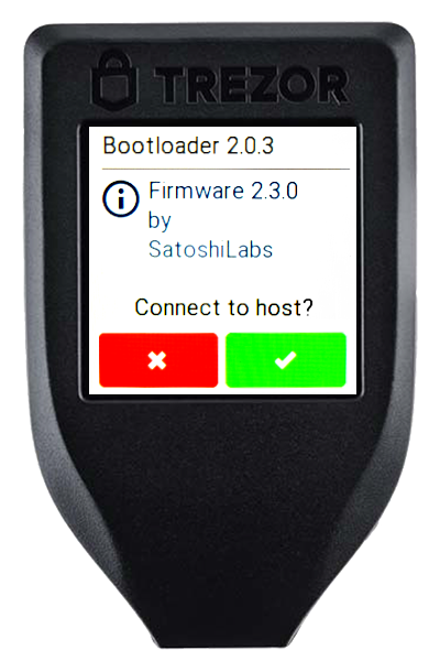 Close up shot of Trezor Model T having its firmware updated.