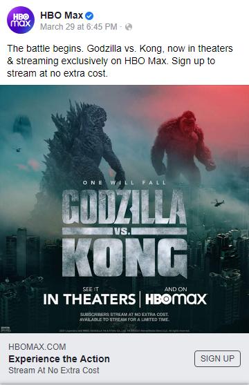 HBO ad for Godzilla vs. King Kong