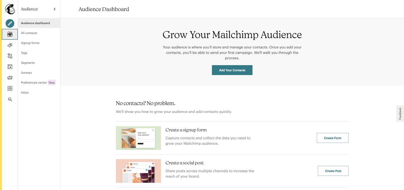 Screenshot of Mailchimp audience dashboard.