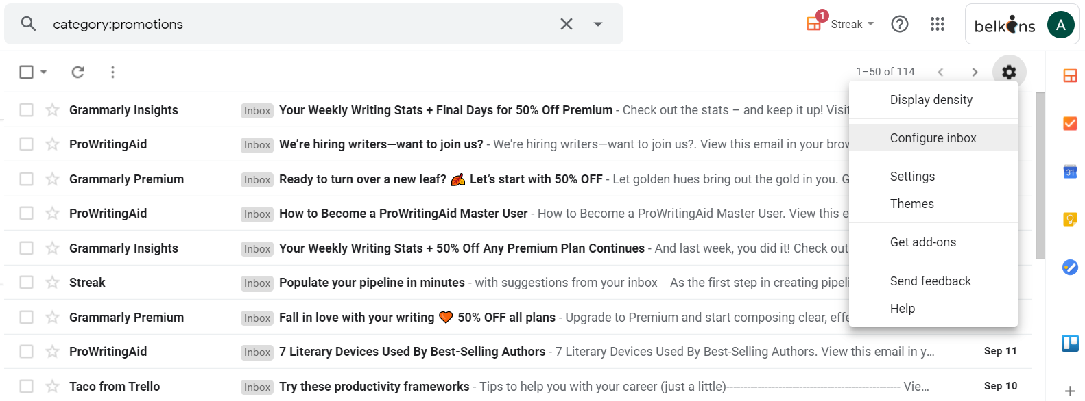 email promotion category