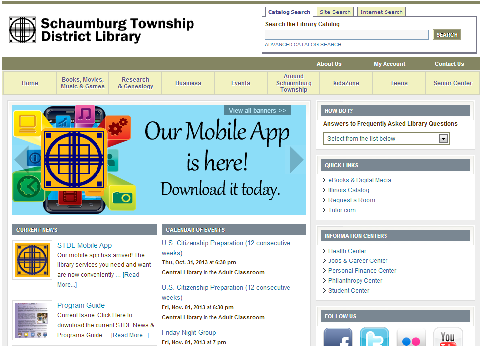 Schaumburg Township District Library Mobile App Promotion Example