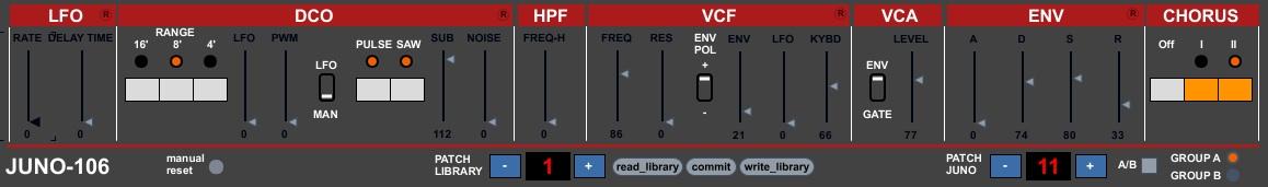 JunoControl - MAX 4 Live Roland JUNO-106 Editor