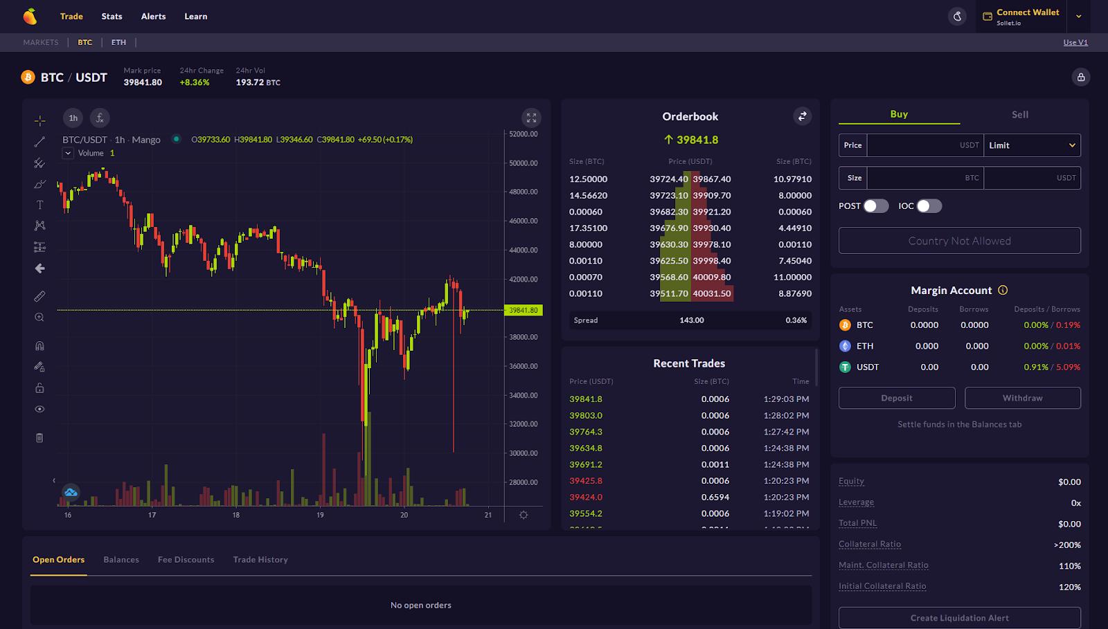 mango markets trading interface
