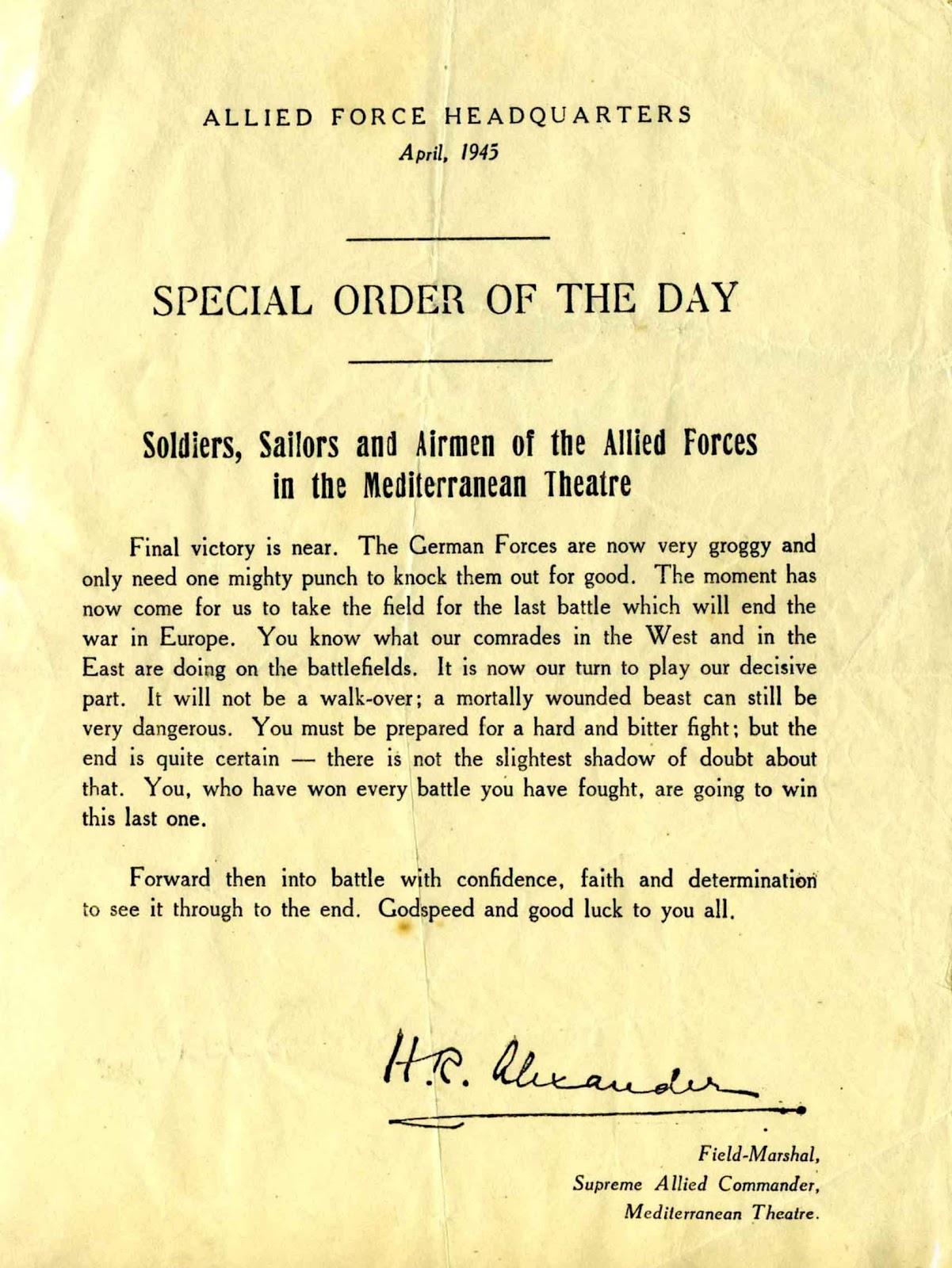 Special order April 1945