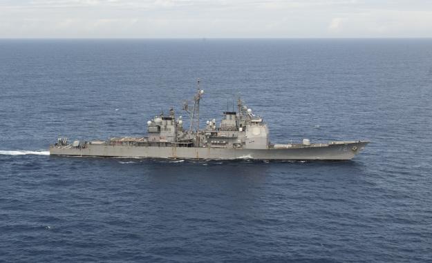 USS Vella Gulf (CG-72) transits the Atlantic Ocean on March 19, 2014. US Navy Photo