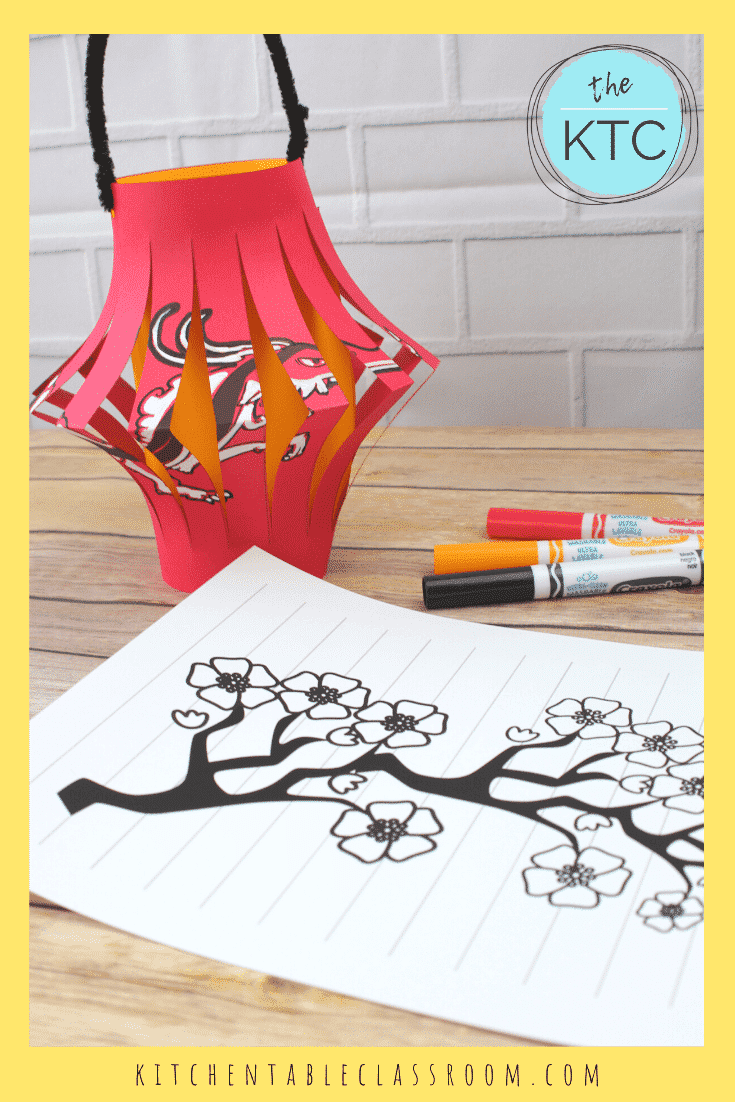 Chinese new year craft outline for kids. A paper with slits cut in the middle and a branch with flowers.