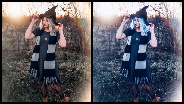 foto de uma mulher usando uma fantasia de bruxa inspirada em Hogwarts