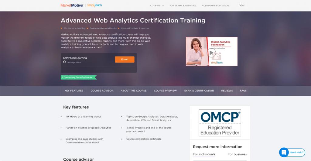 Zertifizierungstraining für fortgeschrittene Webanalyse – MarketMotive