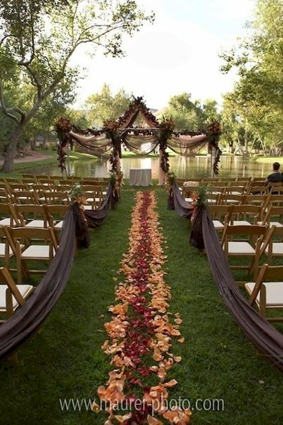 outdoor wedding aisle flower petals