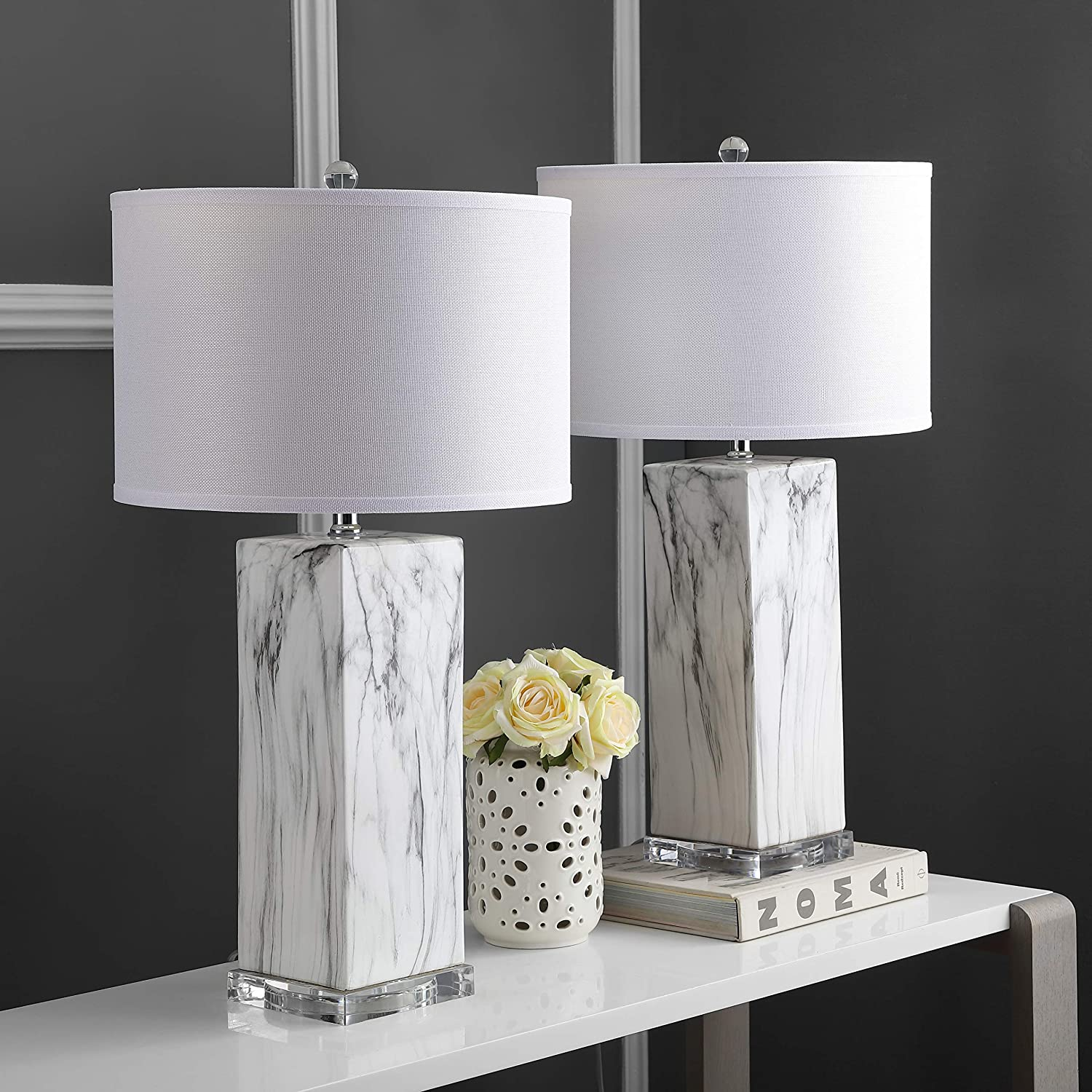 white marble table lamps white black circular shade elegant classic