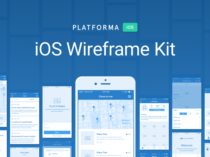 Sample assets from Gumroad's Platforma iOS XD wireframing kit.