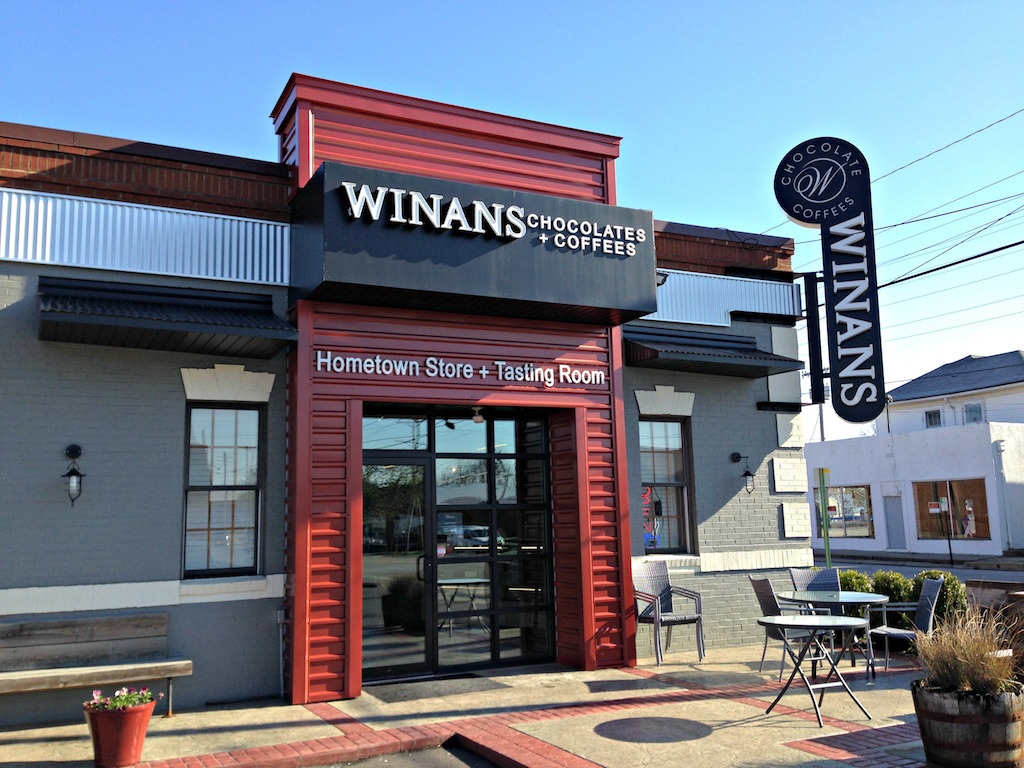 Winan's Chocolates and Coffees sleek modern exterior
