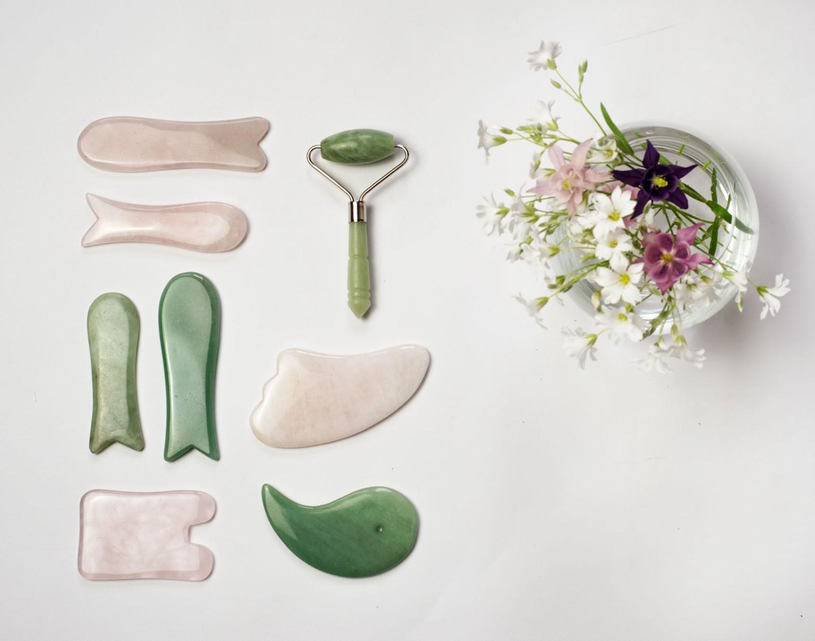 Various tools used for gua sha or gua sha facial