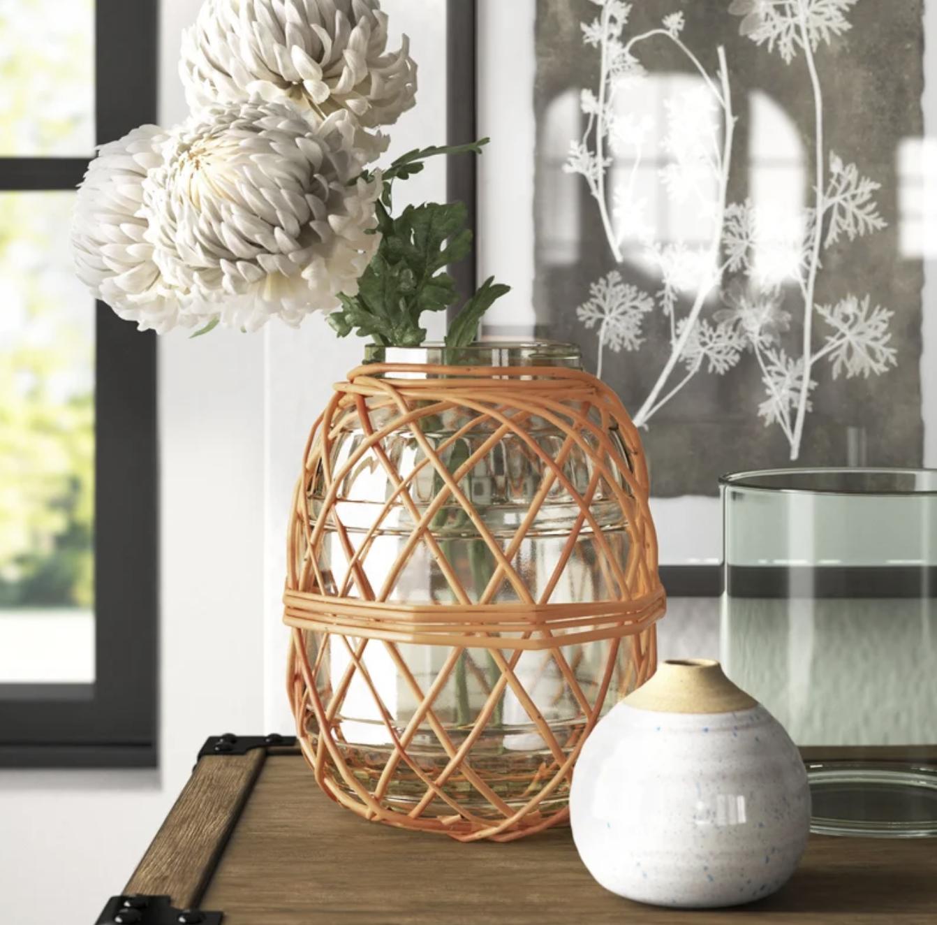 wicker glass table vase for wedding table arrangements