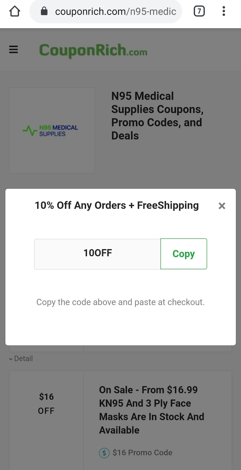 N95 Medical Supplies coupon code