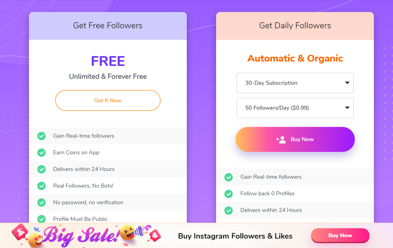 free likes and followers