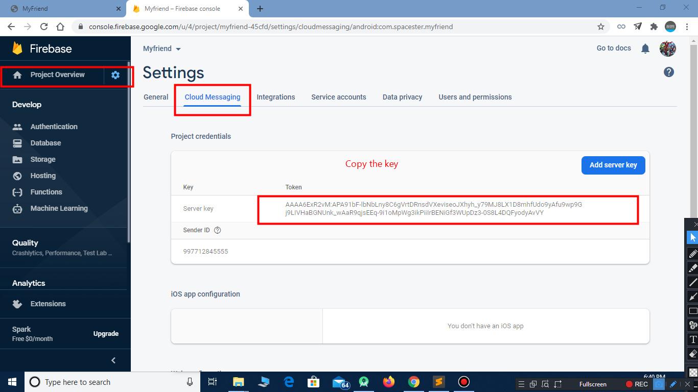 Configure key for notications in facebook clone script
