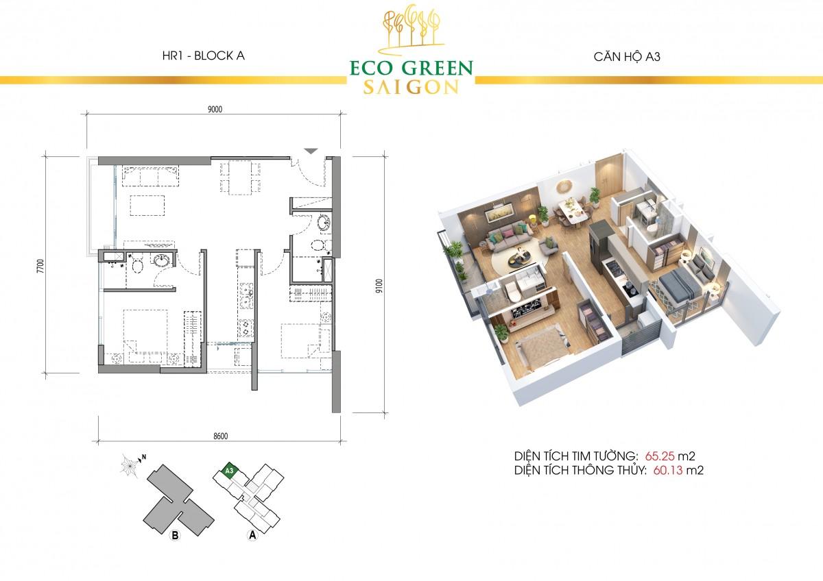 Mặt bằng căn hộ của dự án Eco Green Saigon Quận 7