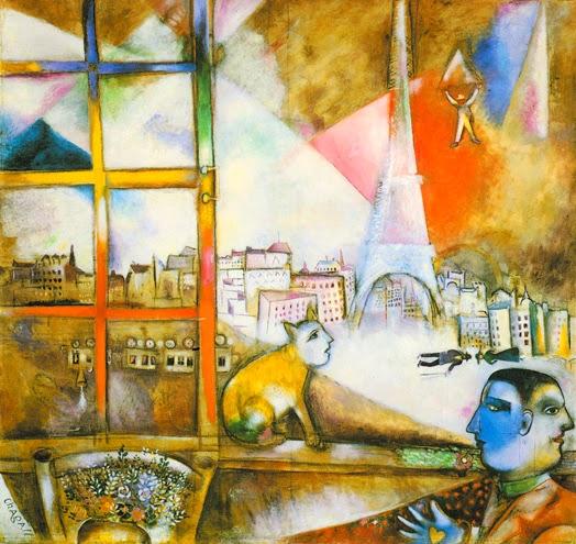 Parigi dentro la finestra 1913 M. Chagall