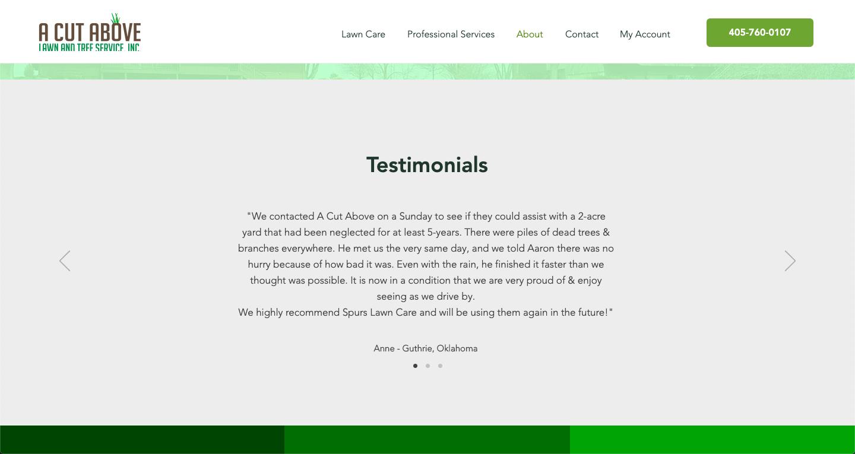 A Cut Above: Lawn Care Website