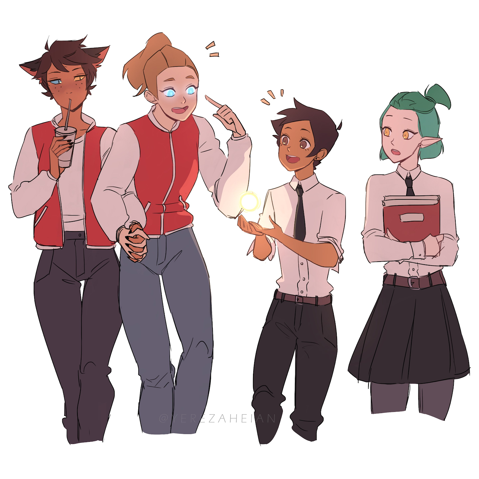 Fanart of Catra & Adora (She-Ra), and Luz & Amity (The Owl House). The four characters are dressed as regular teens in school clothes, talking to one another animatedly.