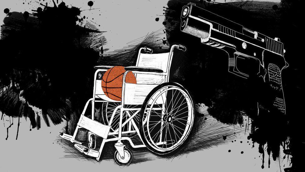 Ilustración de una silla ruedas con un balón de baloncesto