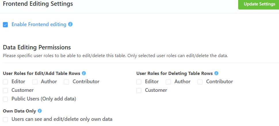 Ninja Tables frontend editing