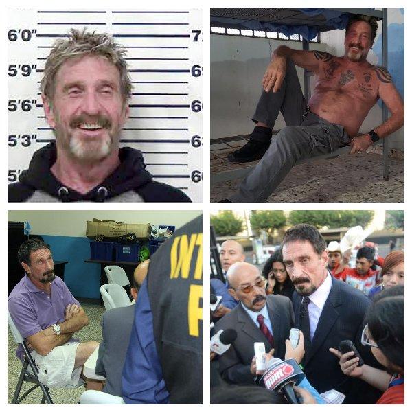 John Mcafee lors de ses nombreuses arrestations. En Prison, interrogé par la police ou encore répondant aux questions des journalistes.