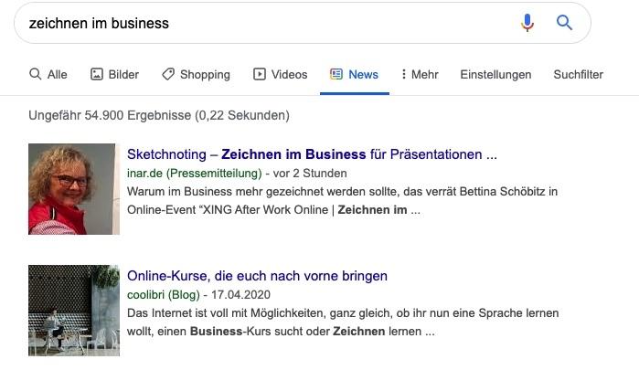 Google Newseintrag zur Pressemitteilung zum Online-Event