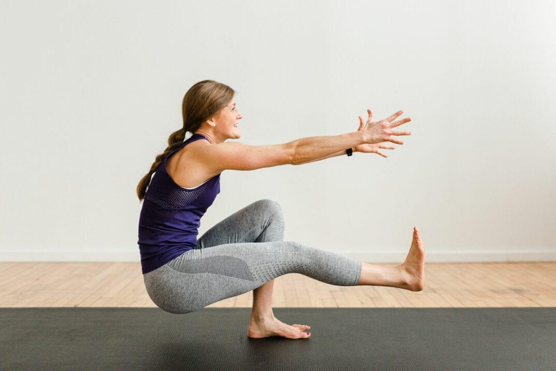 women practising power yoga